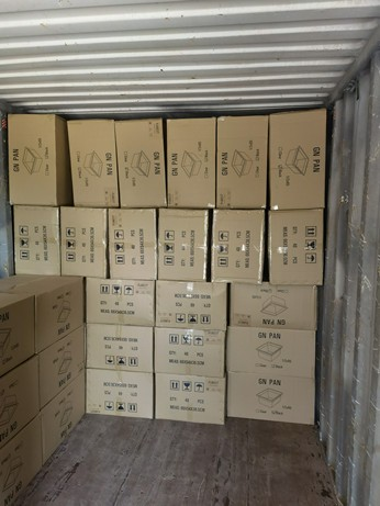 20 GP Container of PC GN Pans Baguette Baking Trays and Drain Shelves to Europe